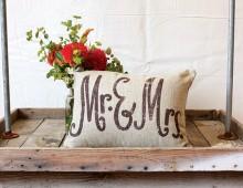 """Creative Co-op, Inc. © / """"Mr & Mrs"""" Pillow"""
