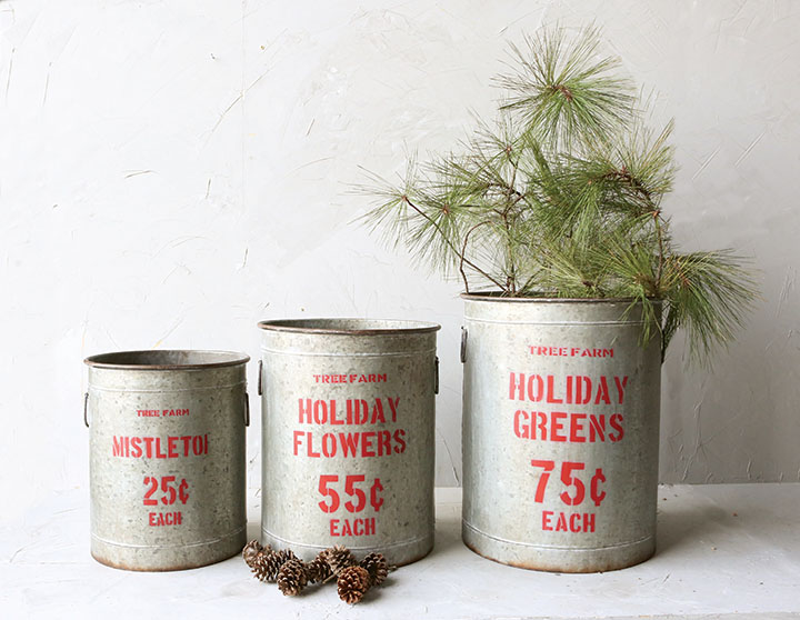 Creative co op inc holiday buckets for Christmas tin pails
