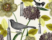 Botanical Bird & Tassels pattern