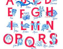 Italian alphabeth for kids with animals